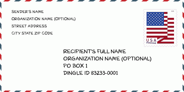 City Name Dingle Id Idaho United States Zip Code 5 Plus 4